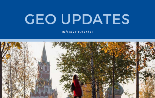 """Top banner is navy blue and reads """"GEO Updates 10/18-10/24/21."""" Bottom image is of a person standing"""