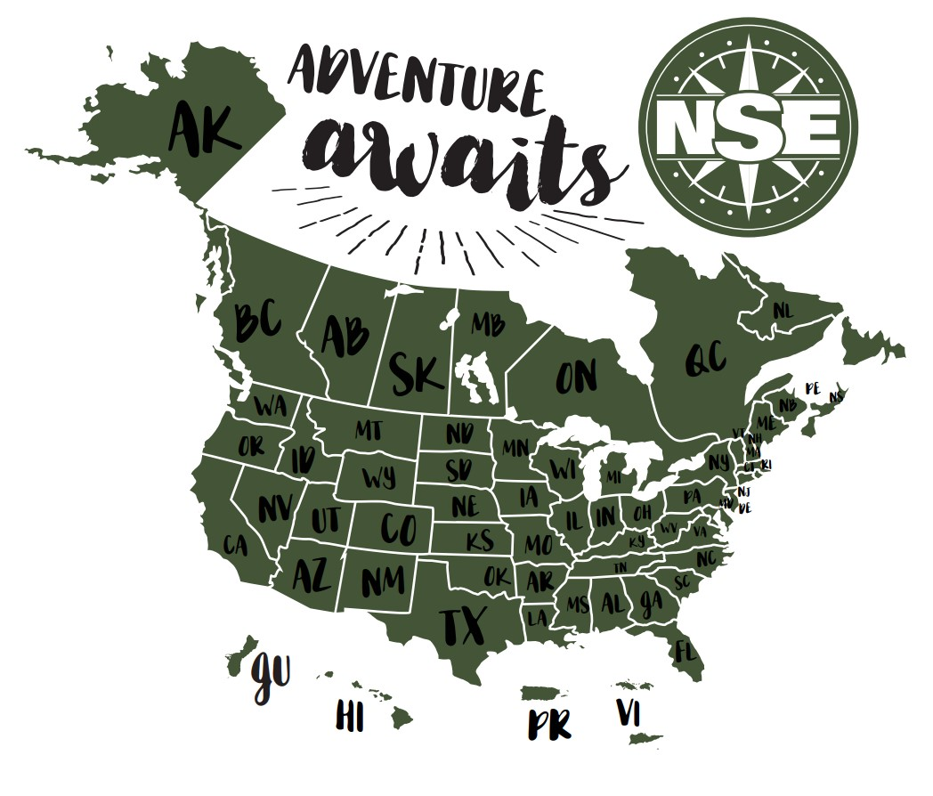 Map showing the US and Canada states and terriorities for NSE