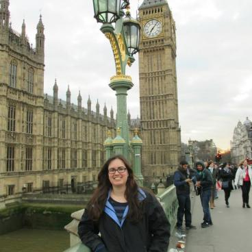 Stephanie stands in front of Big Ben in London